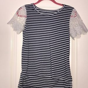 Blue, white stripped top with white lace sleeves.